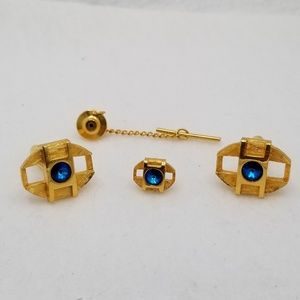 Other - Gold Tone Blue Accent Cufflinks Tie Tack